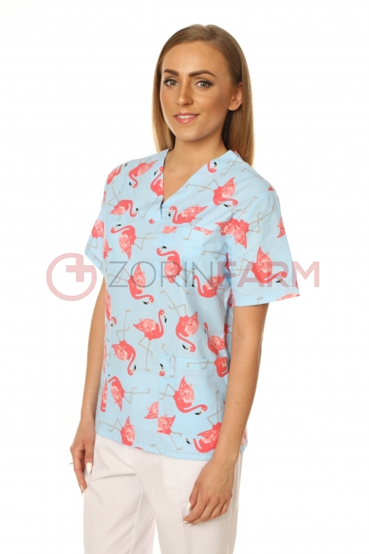 Zorin Farm bluza medyczna damska wzór flamingi